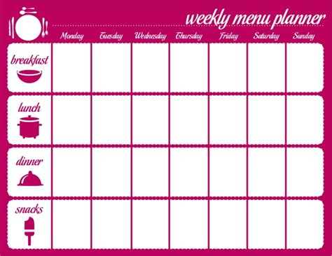 weekly menu planner template word weekly menu template