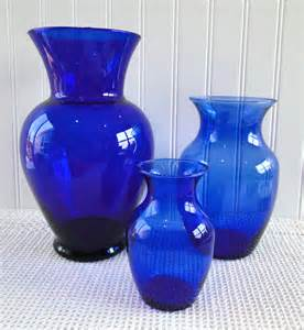 Vintage Green Glass Vases Cobalt Blue Vases Set Of 3 Different Sizes By Leadmeaway
