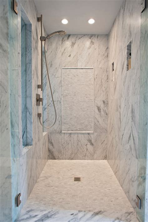 Beautiful Carrera Master Bath   Contemporary   Bathroom