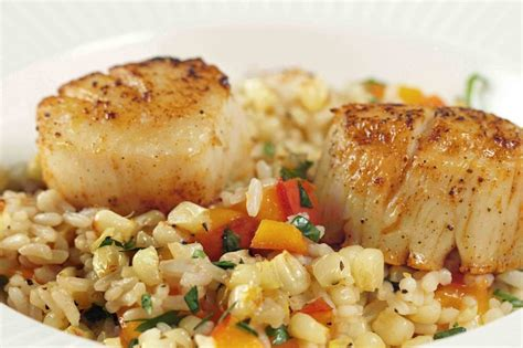 pan seared scallops with a summer corn medley