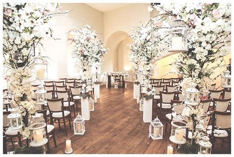 Wedding Aisle Lined With Flowers by Stunning Blossom Flower Trees Wedding At Farnham Castle