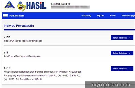 penyata e filing lhdn 2015 kemaskini income tax di website e filing lhdn