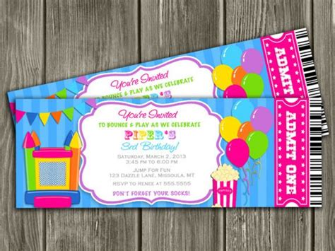 Printable Girl Bounce House Ticket Birthday Invitation Jump Castle Inflatable Park Free Bounce Invitation Template
