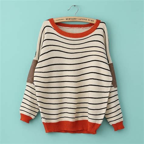 loose long bat sleeved spell color patch stripe knit a