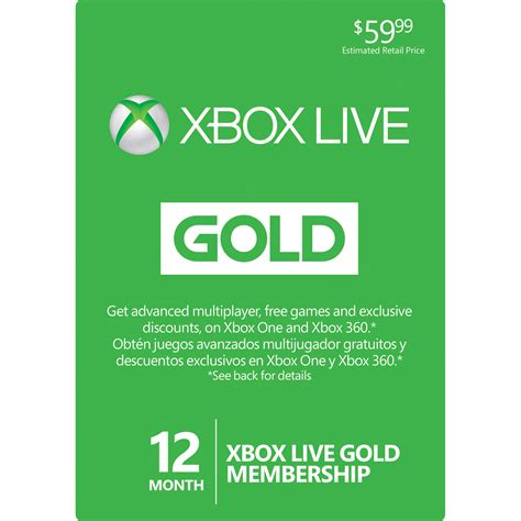 Xbox Live 12 Month Gold Membership Gift Card - microsoft xbox live 12 month gold membership card 52m 00339 b h