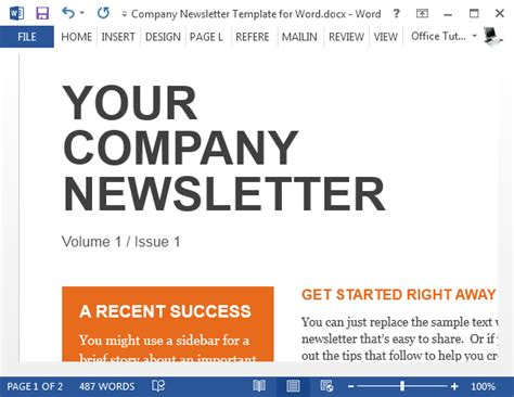 Sle Company Newsletter Template For Word Company Newsletter Template Word