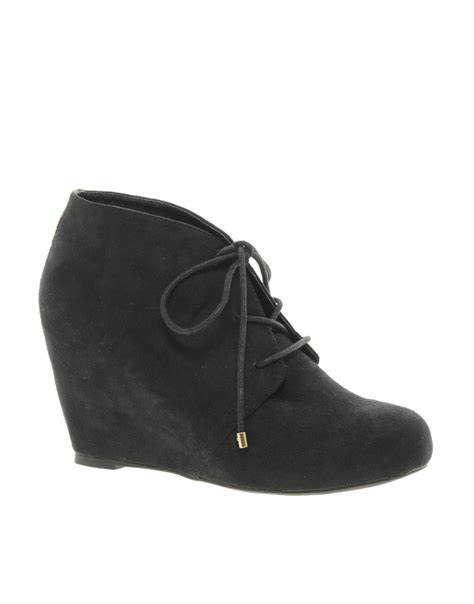 river island lace up wedge ankle boots in black lyst