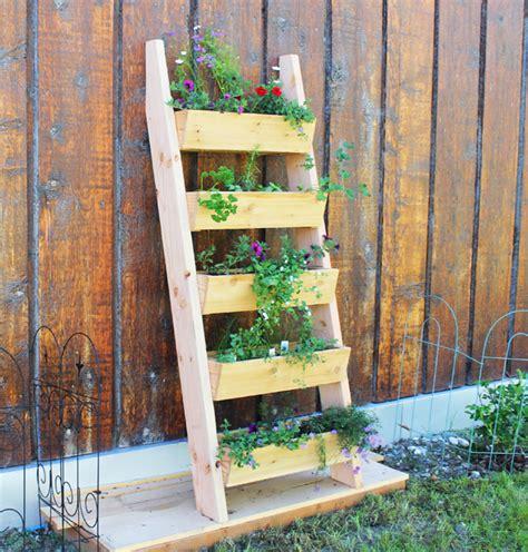 Vertical Garden Plans White Cedar Vertical Tiered Ladder Garden Planter