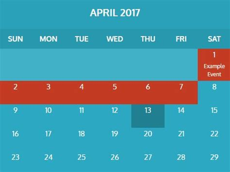 Jquery Calendar Create A Basic Weekly Schedule With Hour Selector Using