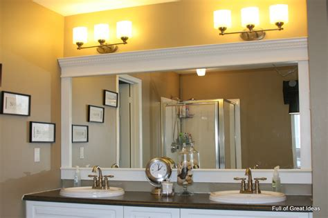 Bathroom Mirror Trim Ideas | full of great ideas how to upgrade your builder grade mirror frame it