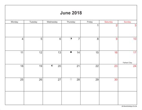 2018 Calendar June June 2018 Calendar Printable With Bank Holidays Uk