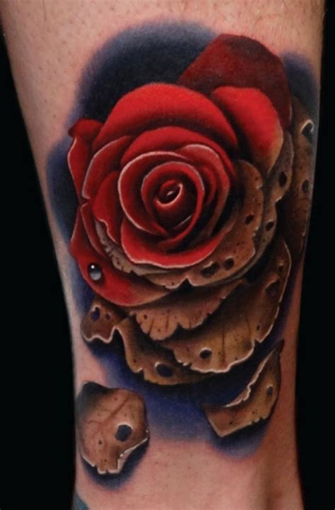 detailed rose tattoos brilliant detailed and colored on ankle