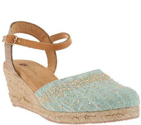 Wedges Cardinal Original quot as is quot white mountain closed toe espadrille wedges sail boat a271758 qvc