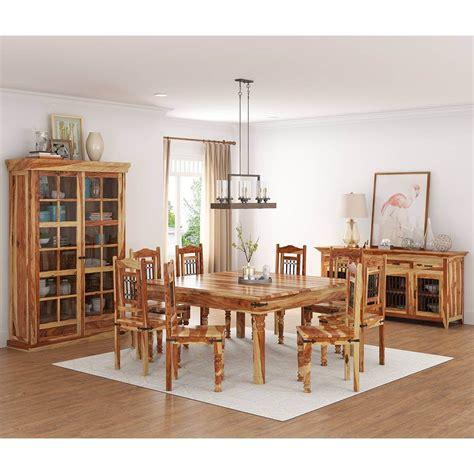 peoria rustic solid wood  piece square dining room set