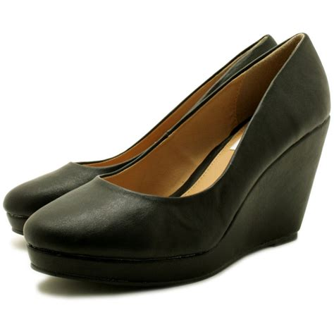 black wedge shoes buy wedge heel platform court shoes black leather style