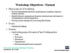 workshop objectives format