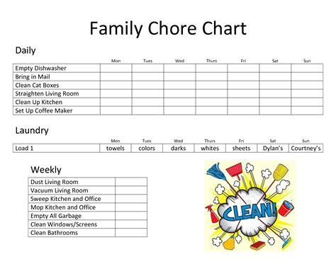Daily Family Chore Chart Template Chore Charts Daily Chore Chart Template