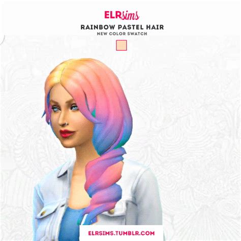 Sims 4 Hairs ~ ELR Sims: Rainbow pastel hairs - 3 recolors Rainbow Hair Tumblr