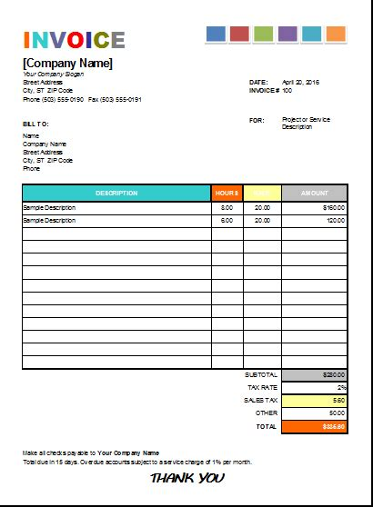 House Painting Invoice For Excel Excel Invoice Templates House Painting Invoice Template