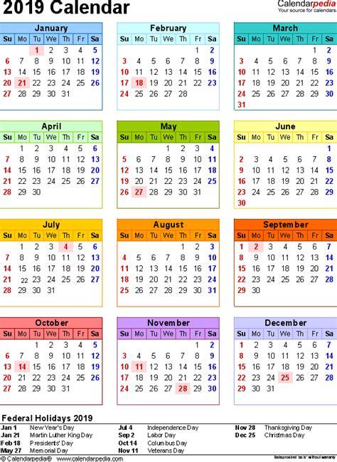 Calendrier 2019 Canada 2019 Calendar Pdf 17 Free Printable Calendar Templates