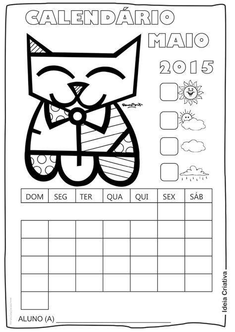 Calendario Maio 2015 Calend 225 Rios 2015 Romero Britto Para Imprimir E Colorir