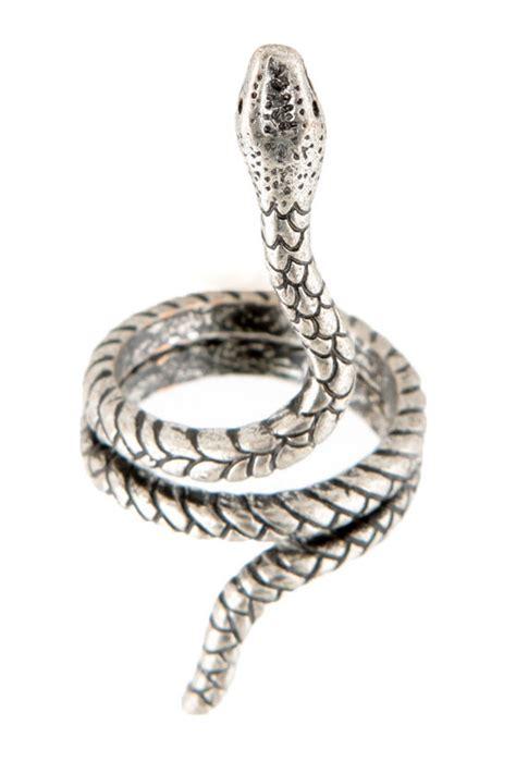 wraparound snake ring silver ring coiled snake ring