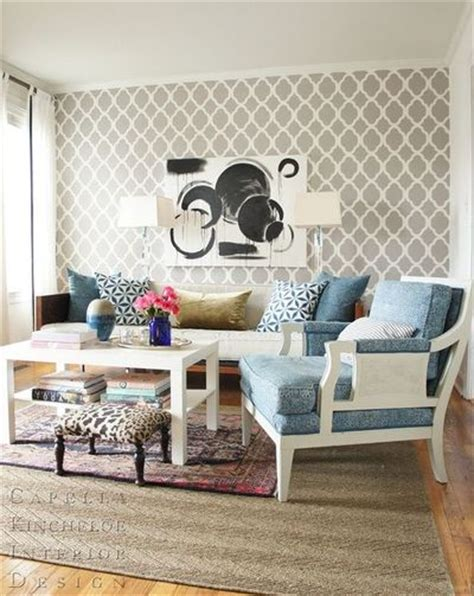 Living Room Wallpaper Grey Trellis Wallpaper Or Stencil White And Grey Living Room