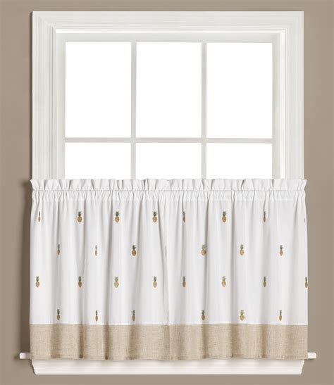 36 kitchen curtains welcome pineapples 36 quot kitchen curtain tier linens4less