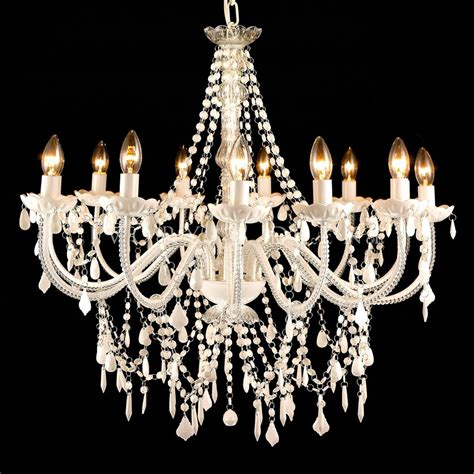 Chandelier Picture New White Chandelier Large 12 Arm Ivory Vintage Light L Glass Post Ebay