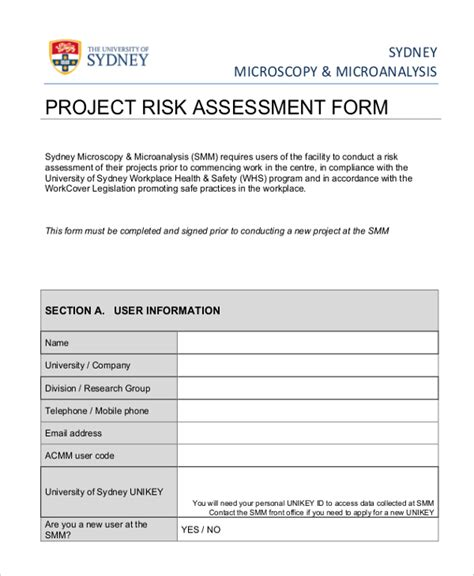 project risk assessment template gallery templates