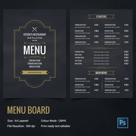 menu board design templates free 18 chalkboard menu templates free sle exle