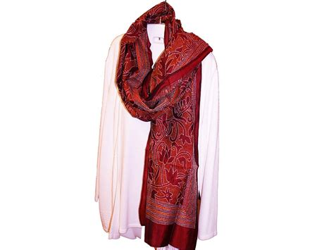 maroon scarf with embroidery embroidered maroon shawl