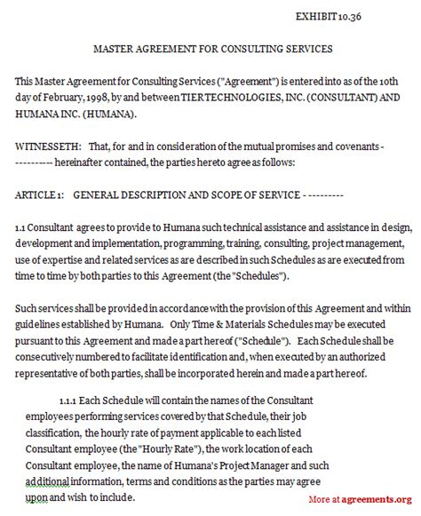 master service agreement template consulting master agreement for consulting services sle master