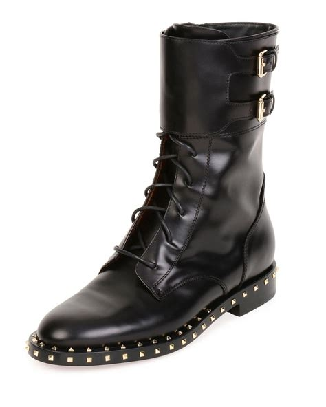 moto boot valentino soul stud rockstud leather moto boot in black lyst