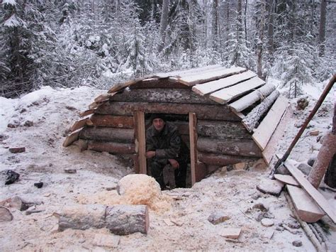 bushcraft winter shelter term woodland shelter