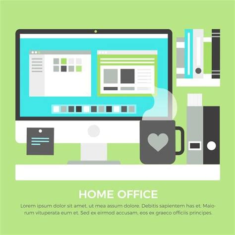 home office design software free download free flat design vector home office elements download