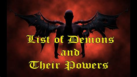and demons list of demons and their powers