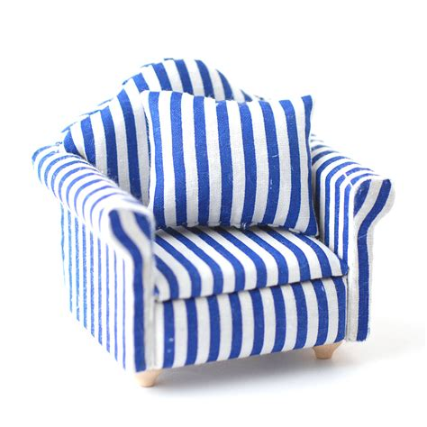 Blue Striped Armchair by Df1166 Blue Stripe Armchair Dolls House Superstore