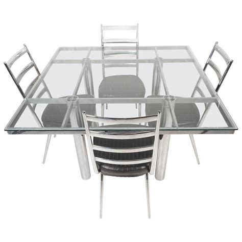 Mid Century Modern Glass Dining Table Mid Century Modern Chrome And Glass Dining Table For Sale At 1stdibs