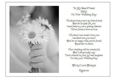 To my Best Friend on her Wedding Day   Unique PERSONALISED