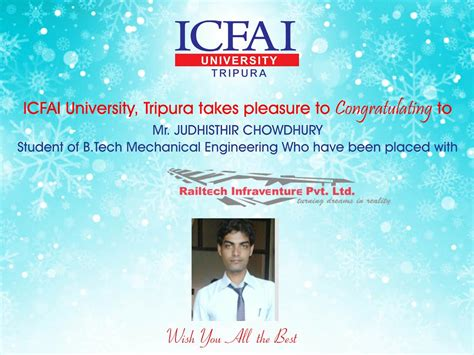 Icfai Distance Learning Mba Kolkata by Placements The Icfai Tripura Time