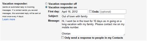 Out Of Office Gmail by Setting Out Of Office Town Message In Gmail Book Of