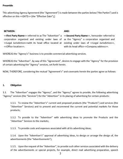 advertising agency contract template ne0142 advertising agency agreement template