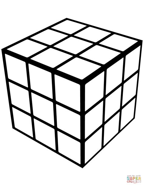 Rubik 3x3 White rubik s cube coloring page free printable coloring pages