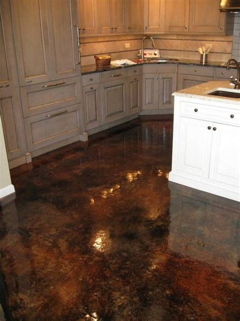 concrete kitchen floor wood kitchen cabinets stained concrete floors acid