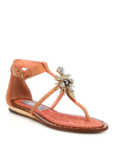 jeweled boots lyst kirzhner babel jeweled leather sandals in brown