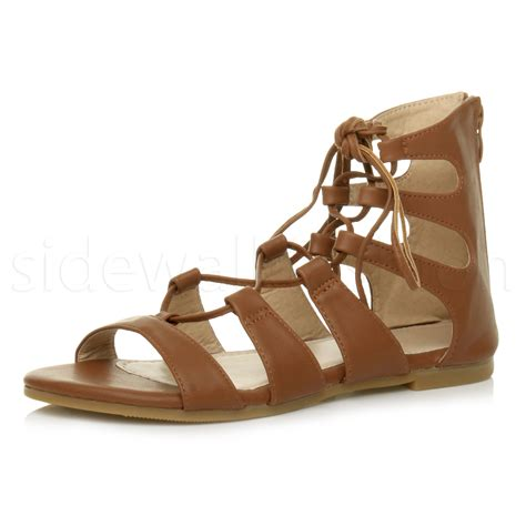 Sendal Wedges Pnc 1 womens flat lace up strappy ankle tie gladiator ghillie sandals size ebay