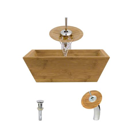 Bamboo Vessel Faucet by Mr Direct Vessel Sink In Bamboo With Waterfall Faucet And