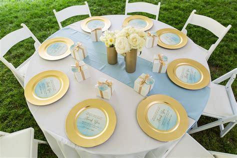 light blue baby shower decorations kara s ideas blue gold baby shower kara s