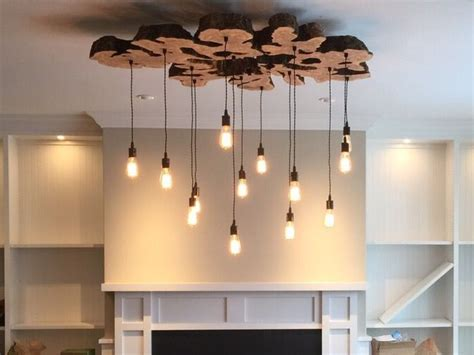 Handmade Chandeliers Lighting - handmade large live edge olive wood chandelier